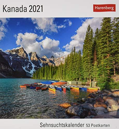 Kanada Sehnsuchtskalender 2021 - Postkartenkalender mit Wochenkalendarium - 53 perforierte Postkarten zum Heraustrennen - zum Aufstellen oder Aufhängen - Format 16 x 17,5 cm