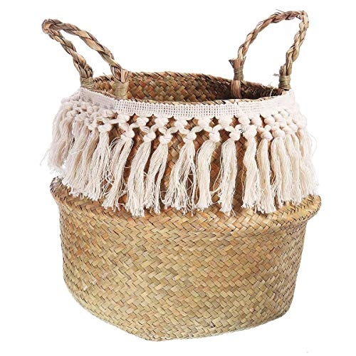 honghaier NEW! Fringed Macrame Woven Basket Seagrass Storage Basket Garden Flower Pot Vase Wicker Basket Home Laundry Baskets Toy Holder(As shown in the first picture)