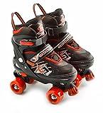 The Magic Toy Shop 4 Wheel Adjustable Quad Roller Skates Kids Boots Childrens Rollerskates (Red, Small/UK 11-1/)
