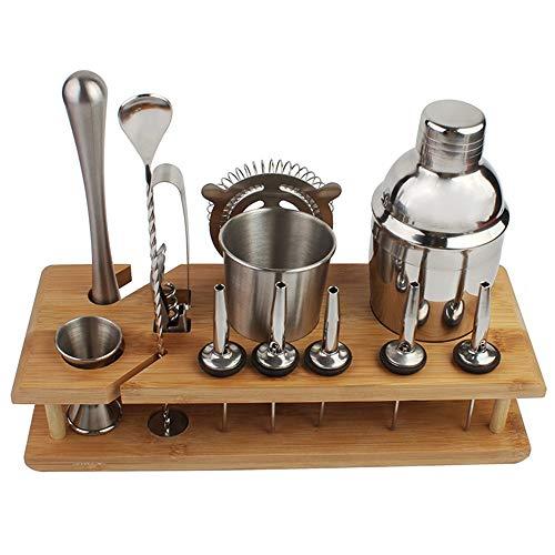 Kit de Coctelera Kit de Camarero con bambú Soporte 14 Piezas Coctelera Conjunto de Bebida Mixta de Acero Inoxidable Set Barra de Herramientas (Color : Silver, Size : M)