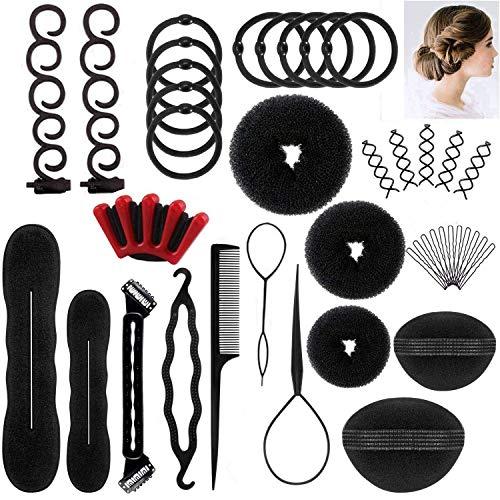PUBAMALL Juego de peinados para el cabello, Moda francesa Estilismo para el cabello Clip Stick Bun Maker…