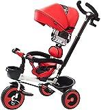 WDCC Cochecito Plegable Triciclo para niños 1-3-6 años Cochecito de Bicicleta Cochecito de bebé Deslizamiento Artefacto de bebé Carro de bebé (Color: Rojo)