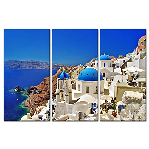 So Crazy Art - Canvas Print Wall Art Painting For Home Decor,Windmill In Oia Santorini A Village In The North West Edge Of The Santorini Island With White Houses 3 Piece Panel Paintings Modern Giclee