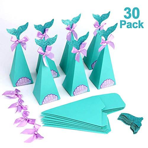 HOWAF Satz von 30 meerjungfrau geschenkeboxen, Meerjungfrau Mitbringsel Candy Papierboxen für Kinder Gastgeschenke Mädchen deko, Geburtstag Mitgebsel, Baby Dusche, Hochzeit