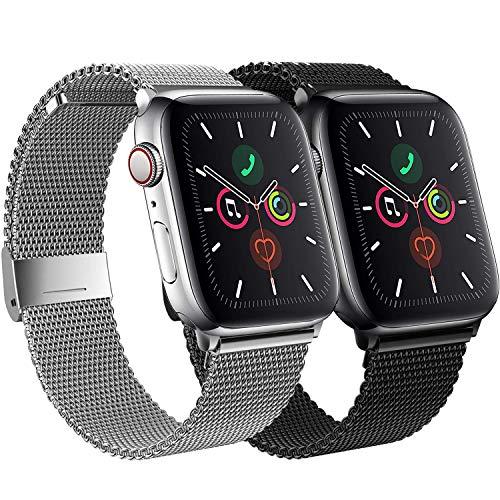 SSEIHI Compatibile Cinturino per Apple Watch Cinturino 38mm 40mm 42mm 44mm,Maglia Milanese Cinturino in Acciaio Inossidabile Loop con Magnete Compatibile con IWatch Series SE/6/5/4/3/2/1-2pack
