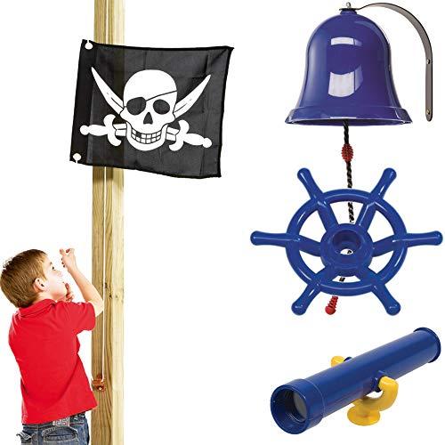 SPIELTURMKING Zubehörset Prinzessin / Pirat Spielturmzubehör Fahne Lenkrad Glocke Fernrohr (Pirat)