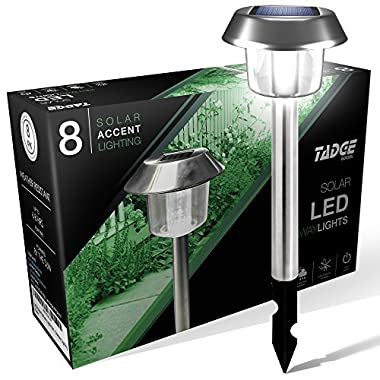 LED Solar Lights Outdoor Landscape Pathway Lighting – Sun Powered Yard Lights For Garden, Ground Path, Walkway, Driveway, 8 Pack