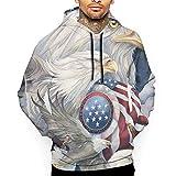 American Bald Eagle Sudadera con Capucha Unisex Novedad Cool Jersey de Manga Larga Bolsillos Grandes Sudadera con Estampado Divertido M