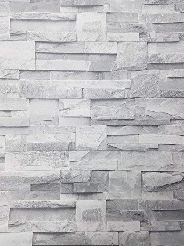 3D Slate Stone Brick Effect Wallpaper Grey Rock Realistic Textured Vintage from Y�L