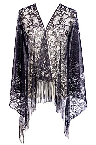 Women's black lace scarf Lightweight Soft Leaf Lace Fringes Scarf shawl for