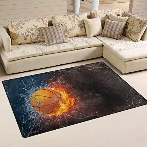 Alfombra de baloncesto en el fuego y el agua con zona de aligeramiento, antideslizante, felpudos para sala de estar, dormitorio, 152,4 x 99 cm