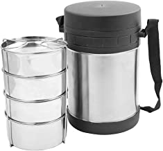 Thermosteel Tiffin Container - insulated tiffin carrier - Zero Waste Lunch Box - metal bento box - Tiffin Boxes Stainless Steel - insulated lunch box stainless - 4 Tier tiffin lunch box, Silver