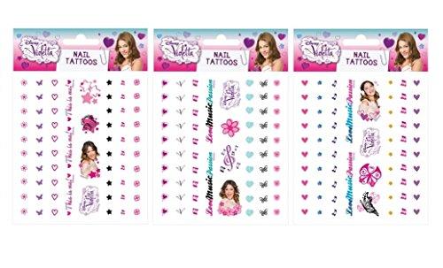 Violetta - Lámina de 65 tatuajes para cuerpo y uñas (modelo aleatorio)