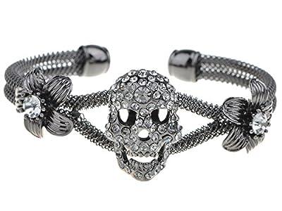Alilang Womens Jewelry Gothic Punk Skull Floral Halloween Rhinestone Cuff Bracelet, Gray