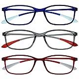 Opulize Ice Pack 3 Súper Ligero Gafas De Lectura Azul Gris Rojo Mujeres Hombres RRR61-37Z +1,50