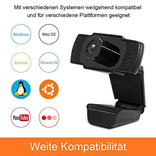 Ebitcam Webcam mit Mikrofon USB Kamera, 1080P Full HD Webkamera mit Autofokus, 90° Sichtfeld, Plug&Play Facecam Streaming Cam, Kamera für PC/Mac/ChromeOS/Android Universalhalterung mit Drehbarem Clip