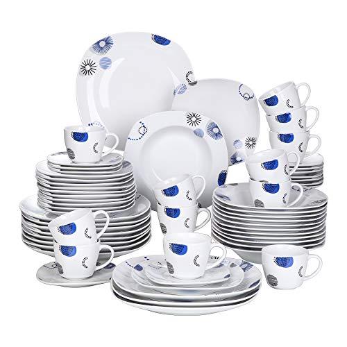 VEWEET, serie Edson, Vajillas de 60 piezas de Porcelana china con 12 Platos de Postre, Platos de Sopa, Platos de...