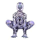 Niños Venom Traje Combinado Lycra Zentai Medias Disfraces de Halloween Traje de Mono Fiesta de cumpleaños para niños Cosplay Traje de Hombre araña,Black- Kid 1X 135~145 cm