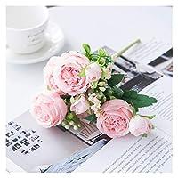 アートフラワー 白いバラの造花シルクの牡丹の結婚式の装飾的な花瓶のための家の装飾の花嫁の花束の泡立てせの贈り物の偽の植物 (Color : Light Pink)