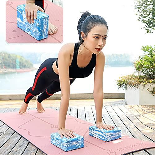 Bloque Yoga Corcho Yoga 2 Unidades Yoga Block de Espuma EVA de Alta Densidad Ladrillo Yoga,Adecuado para Principiantes de Yoga y práctica de Danza. (Azul Camuflaje)