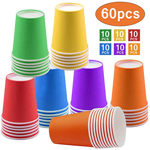 Bicchieri di carta usa e getta per feste, 255 ml, multicolore, biodegradabili, per fai da te, vacanze, matrimoni, 6 colori