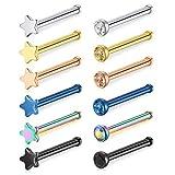 Crdifu 12pcs 20 Gauge Nariz Pernos de Hueso Conjunto Acero quirúrgico Nariz Pin Piercing Mezcla Colores