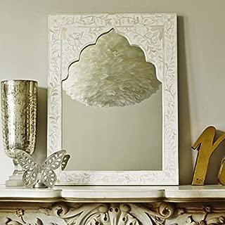 Anjaneya Art Mandir White Bone Inlay Mirror