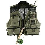 Lisansang Chaleco de pesca con mosca de malla chaleco de pesca caza fotografía chaleco multifuncional bolsillo Chalecos