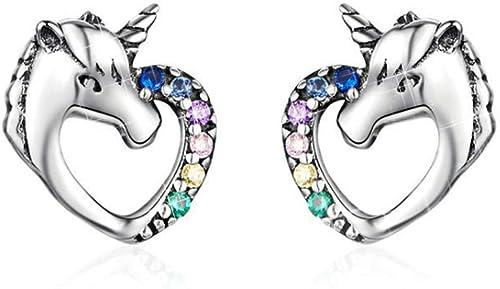 Boucles d'oreilles Licorne Argent S925 pour Femmes Petites Filles des Gamins Bijoux Anniversaire Fête De noël Cadeaux...