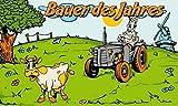 Fanshop Lünen Fahne - Flagge - Bauer des Jahres - Kühe - Trecker - Mühle - Blumen - 90x150 cm - Hissfahne mit Ösen -