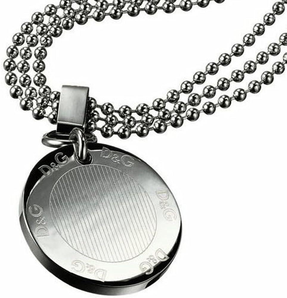 Dolce & gabbana,collana per donna,in acciaio inossidabile,con ciondolo piatto logato DJ0675