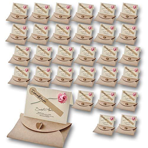 Nash メッセージ カード 30枚 セット 花 封筒付き ミニ レター 席札 グリーティング 大量