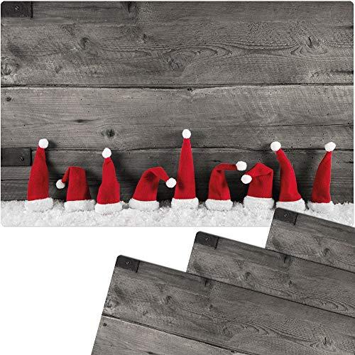 matches21 Tischsets Weihnachten Platzsets MOTIV Weihnachtsmützen im Schnee auf Holzbrett 4 Stk. Kunststoff abwaschbar je 43,5x28,5 cm