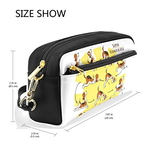 ZZKKO Funny Yoga Dog Leather Zipper Pencil Case Pen Stationary Bag Cosmetic Makeup Bag Pouch Purse