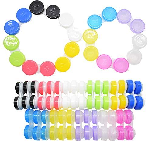 Liuer 40pcs Einfacher Kontaktlinsenbehälter,Aufbewahrungsbehälter Contact Lens Cases Kits, Tragbare Antibakteriell Reisen Verwendet Kontaktlinsen Kit für Zuhause und Reisen (verschiedene Farben)