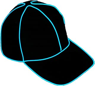 Light Up Snapback Hat Glow in The Dark Baseball Cap Lighted Hat for Concerts Rave Festivals Bars Clubs Electric Glow Run Blue