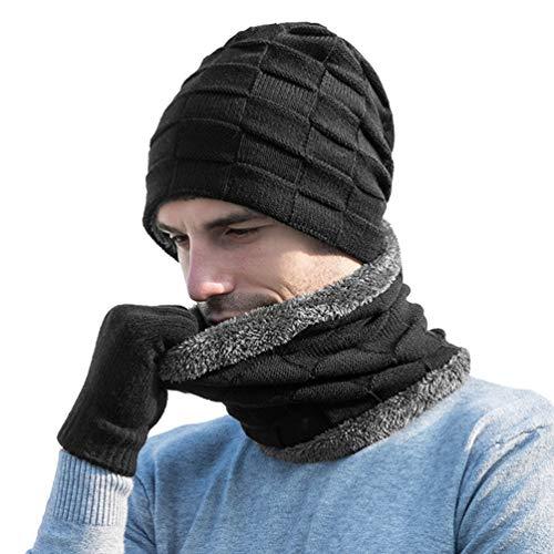 VBIGER Herren Damen Wintermütze, Schal und Touchscreen-Handschuhe Geschenkset (Schwarz)