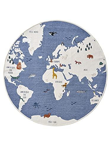 Vertbaudet Tapis Rond Mappemonde Bleu/Multicolore TU