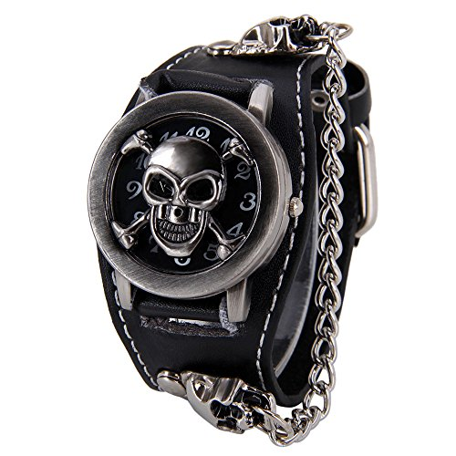Men Punk Style Skull Watch,Clamshell Wide Cuff Black Leather Strap Wrist Watches