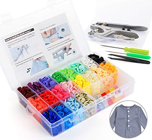 ilauke Snaps Zange mit 400 Set T5 Druckknöpfe in 20 Farben Nähfrei Zubehöre in Organizer für DIY Basteln Scrapbook