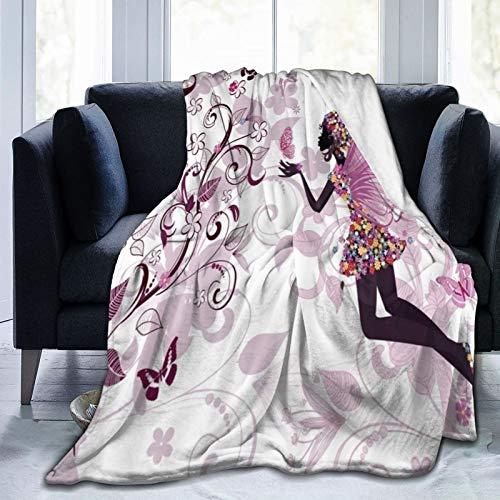 KOSALAER Bedding Manta,Niña Mariposa Rosa con Vestido Floral Diseño De Flores Alas De Ángel De Hadas,Mantas cálidas de Sala de Estar/Dormitorio Ultra Suaves para Todas Las Estaciones