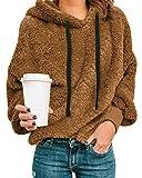 Style Dome Fuzzy - Sudadera con capucha de forro polar para mujer, con capucha de felpa, para invierno, cálida y suave, cremallera 1/4, sudadera de manga larga marrón XXL