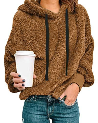 Style Dome Damen Teddy-Fleece Hoodie Plüsch Kapuzenpollover Winter Warm Weich Hoodie Rollkragenpullover Stehkragen Langarm Oversize Sweatshirt 1-Braun XL