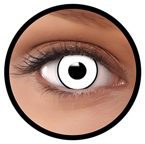 Farbige Kontaktlinsen weiß White Out + Behälter, weich, ohne Stärke in weiß als 2er Pack (1 Paar)- angenehm zu tragen und perfekt für Halloween, Karneval, Fasching oder Fastnacht Kostüm