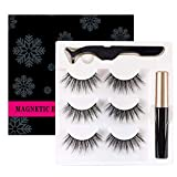 ZiYunShi Magnetic Eyeliner and magnetic lash Eyelashes Kit False Lashes 3 Style with Tweezers,3 Pair Natural & reusable Fluffy Soft Eyelashes With Waterproof Magnetic Liquid Eyeliner