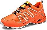 KUXUAN Calzado de Ciclismo para Hombre, Zapatillas de Bicicleta de Carretera Zapatillas de Bicicleta de Montaña Zapatillas MTB,Orange-46