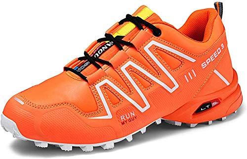 KUXUAN Fahrrad Schuhe Herren Rennradschuhe Mountainbike Fahrrad MTB Schuhe, rutschfeste und Atmungsaktive Freizeitschuhe,Orange-42