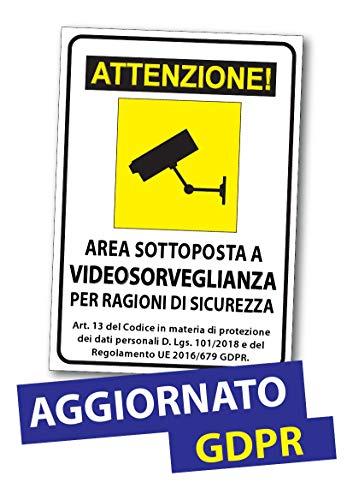 2AINTIMO Adesivo Cartello Area Videosorvegliata Sottoposta a Videosorveglianza GDPR Autoadesivo | Formato A5 (15x21cm.)