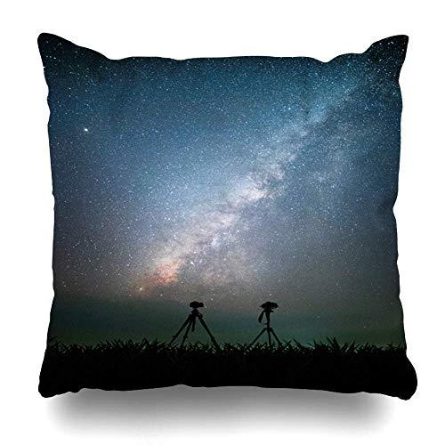 Funda de Almohada Azul Aventura Trípode Cámara Vía Láctea Estrellas en el Viajero Parques Actividad Ciencia Asia Astronomía Brillante 18ĄÁ18 Pulgadas con Cierre Decorativo Funda de Almohada