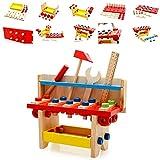 Yuica Caja de herramientas de madera, juego de rol, carpintero, asamblea de construcción para niños, juguete de construcción creativo, para niños de 3 años en adelante